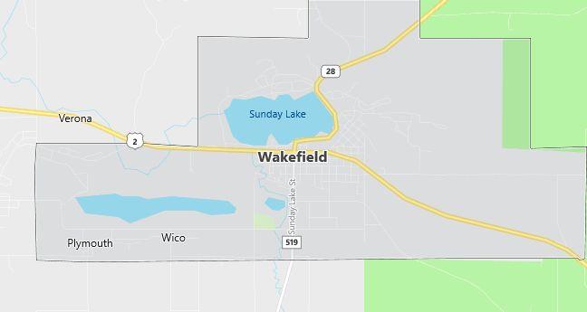 Map of Wakefield, MI