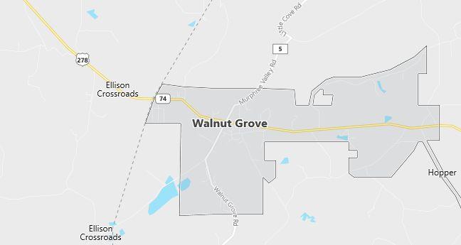 Map of Walnut Grove, AL