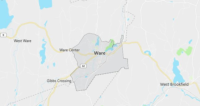 Map of Ware, MA