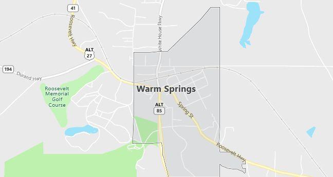 Map of Warm Springs, GA
