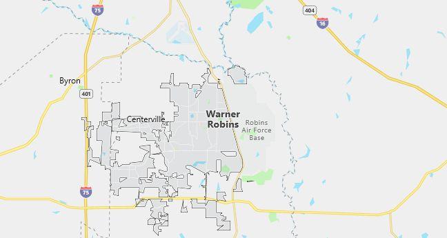 Map of Warner Robins, GA