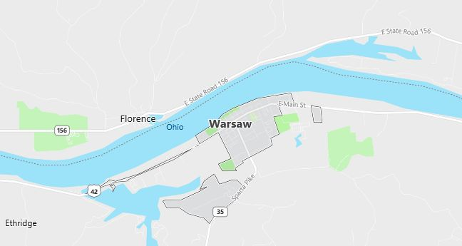Map of Warsaw, KY