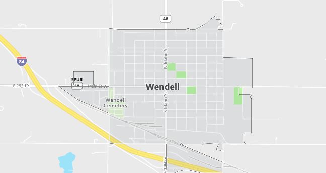 Map of Wendell, ID