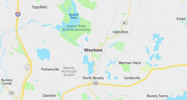 Map of Wenham, MA