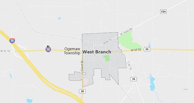 Map of West Branch, MI