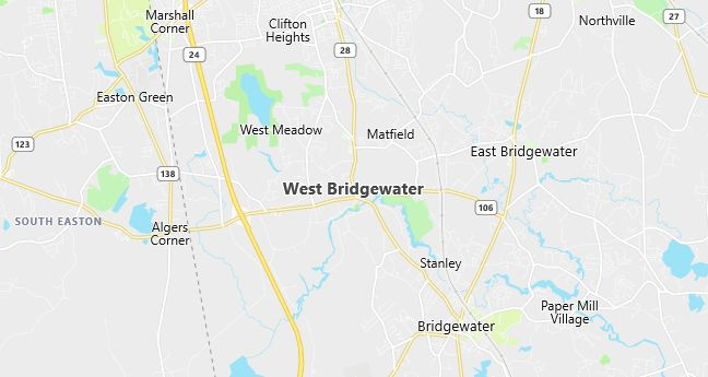 Map of West Bridgewater, MA