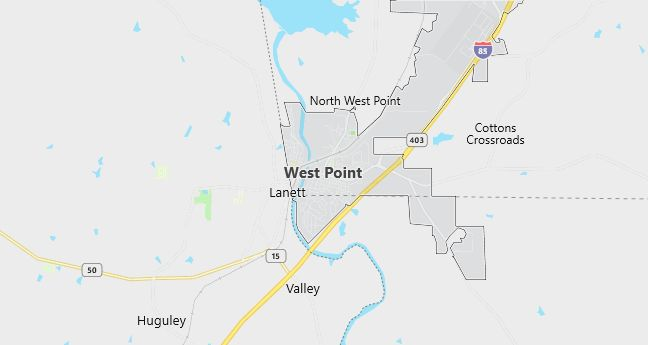 Map of West Point, GA