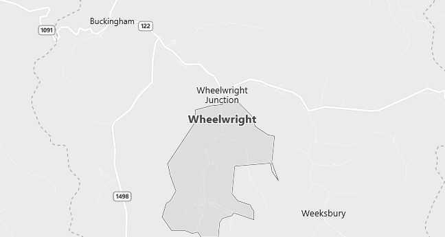 Map of Wheelwright, KY