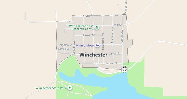 Map of Winchester, ID