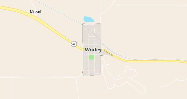 Map of Worley, ID