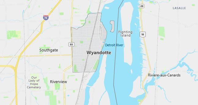 Map of Wyandotte, MI