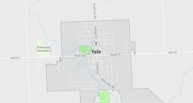 Map of Yale, MI
