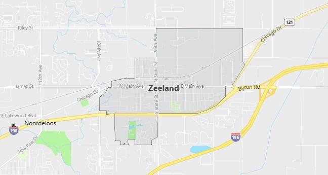 Map of Zeeland, MI