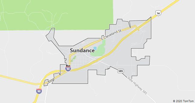 Map of Sundance, WY