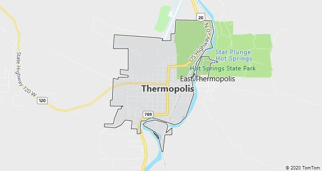 Map of Thermopolis, WY