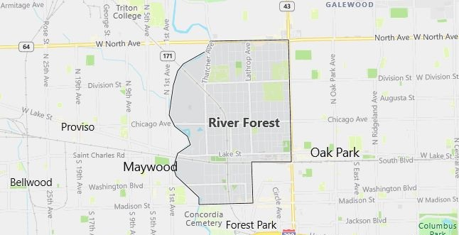 Map of River Forest, IL