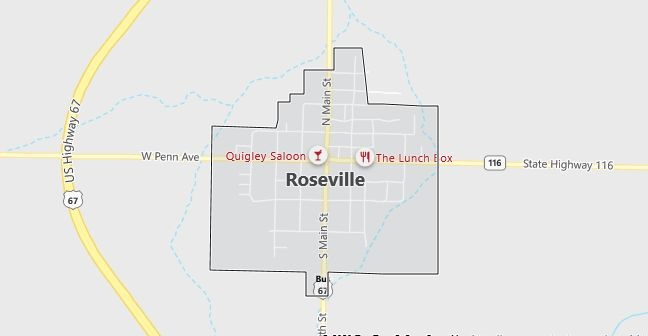 Map of Roseville, IL